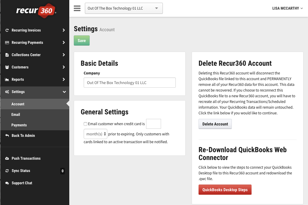 Recur360: Setting up Recur360 to sync with QuickBooks Desktop via